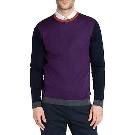 TED BAKER Baesba colour-blocked wool jumper (Purple