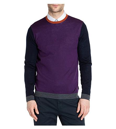 TED BAKER Baesba colour-blocked wool jumper (Purple