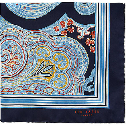TED BAKER Paisley print pocket square (Navy