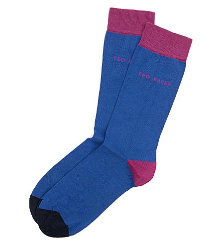 TED BAKER Chochip colour-blocked socks (Blue