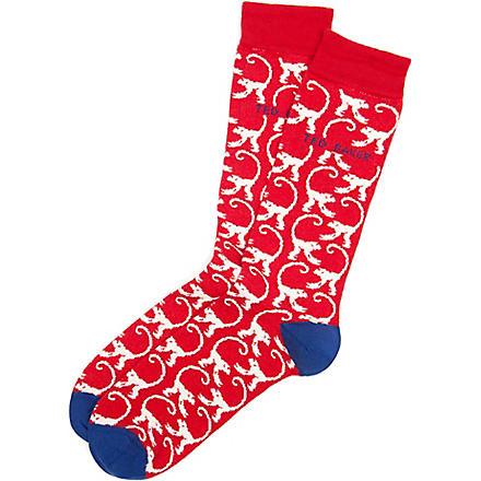 TED BAKER Munkie monkey pattern socks (Red