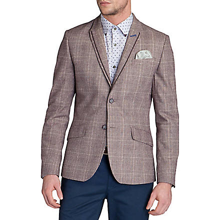 TED BAKER Arwan check cotton blazer (Purple