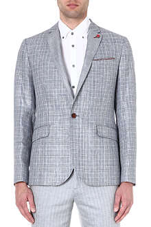 TED BAKER Check linen-blend jacket