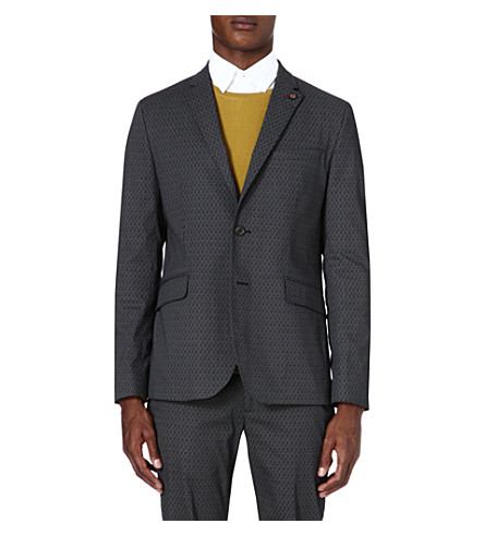 TED BAKER Oakjak printed cotton blazer (Grey