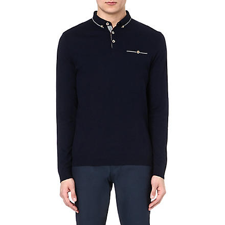 TED BAKER Long sleeve polo shirt (Navy