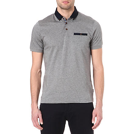 TED BAKER Vinfair jacquard polo shirt (Charcoal