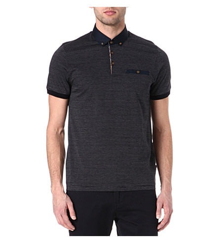 TED BAKER Vinfair jacquard polo shirt (Navy