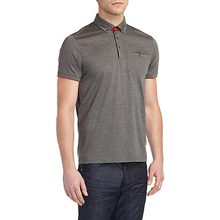 TED BAKER Skybar jersey polo shirt (Charcoal