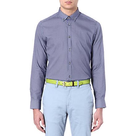 TED BAKER Cross hatch printed shirt (Navy