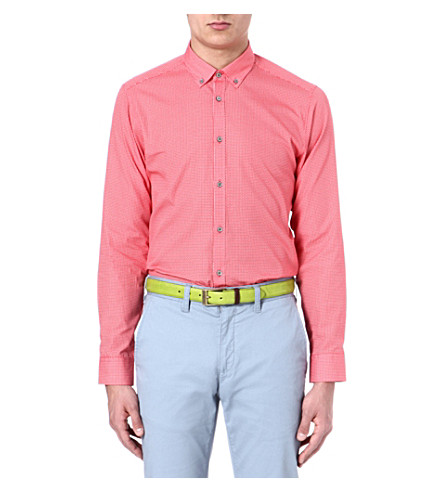 TED BAKER Cross hatch printed shirt (Red
