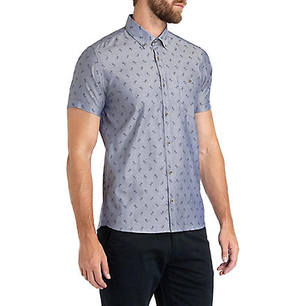 TED BAKER Ripitup floral-jacquard shirt (Blue