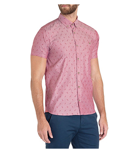 TED BAKER Ripitup floral-jacquard shirt (Red