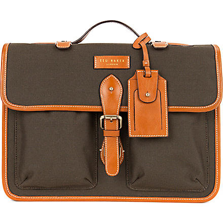 TED BAKER Dollah leather-trimmed satchel bag (Natural