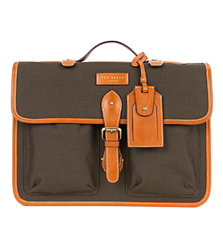 TED BAKER Dollah leather-trimmed satchel bag (Natural