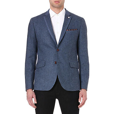 TED BAKER Contrast panel wool jacket (Blue