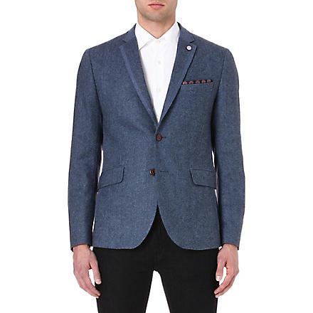 TED BAKER Contrast panel wool jacket (Blue