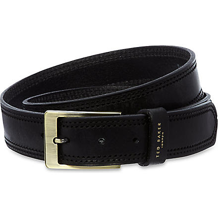 TED BAKER Crikitt cricket stitch belt (Black
