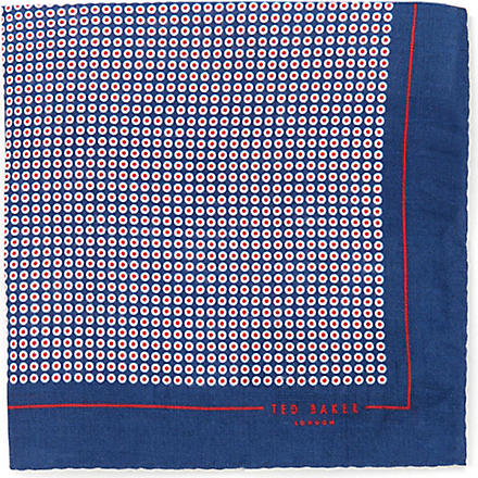 TED BAKER Whopos circle-print pocket square (Navy