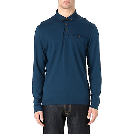 TED BAKER Fleamar long-sleeved polo shirt (Teal