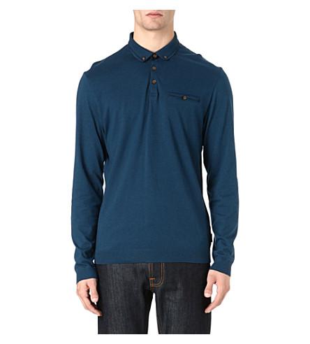 TED BAKER Fleamar long-sleeved polo shirt (Teal