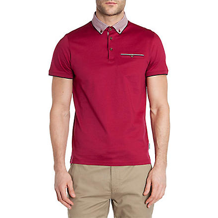 TED BAKER Printed-collar polo shirt (Pink