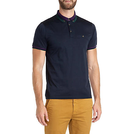 TED BAKER Daylea striped collar polo (Navy