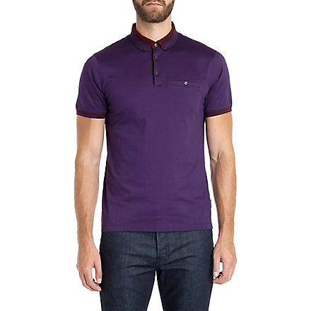 TED BAKER Daylea striped collar polo (Purple