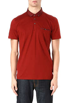 TED BAKER Nugrain grosgrain collar polo shirt