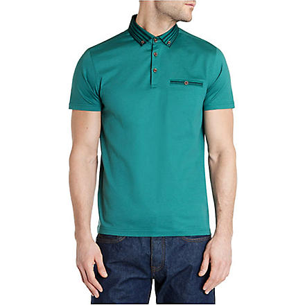 TED BAKER Nugrain grosgrain collar polo shirt (Jade