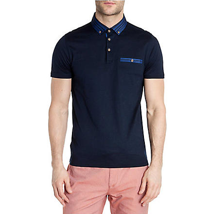TED BAKER Nugrain grosgrain collar polo shirt (Navy