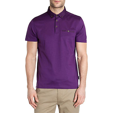 TED BAKER Nugrain grosgrain collar polo shirt (Purple