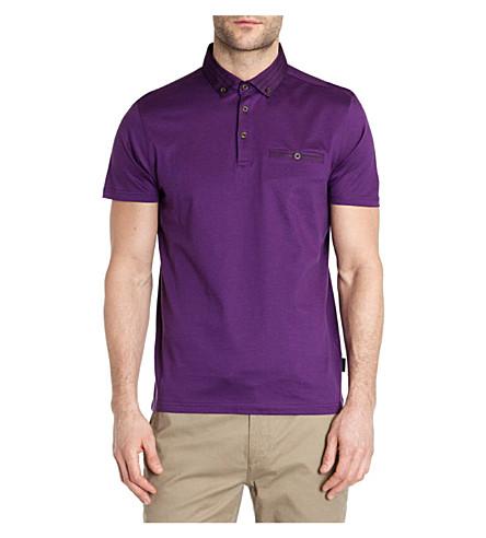 TED BAKER Nugrain grosgrain collar polo shirt (Purple