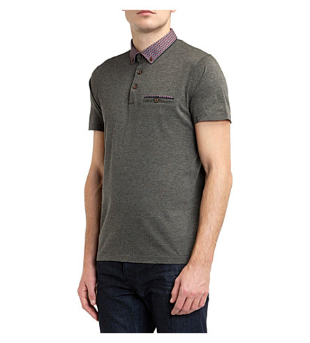 TED BAKER Printed-collar polo shirt (Charcoal