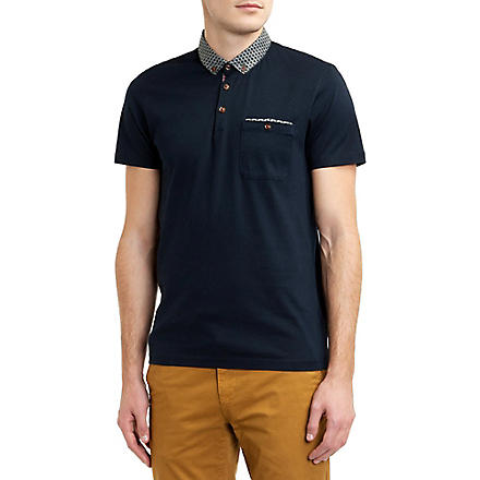 TED BAKER Printed-collar polo shirt (Navy