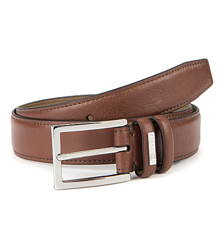 TED BAKER Jollent leather formal belt (Chocolate