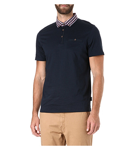 TED BAKER Stokken check collar polo shirt (Navy