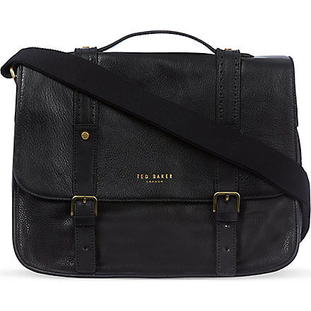 TED BAKER Leather messenger bag (Black