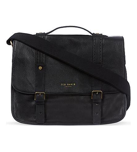 TED BAKER Leather messenger bag (Black