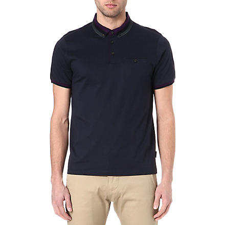 TED BAKER Daylea striped-collar polo shirt (Navy