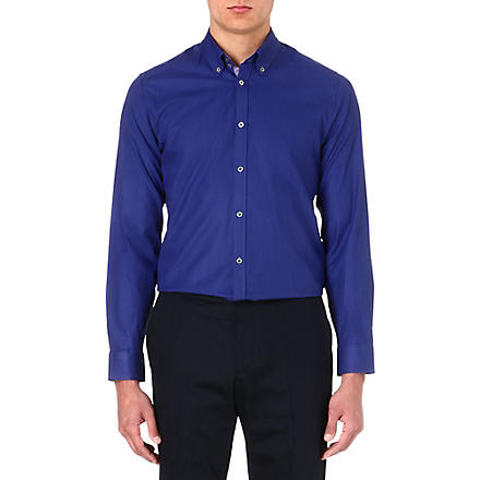 TED BAKER Cotton polka-dot shirt (Bright+blue