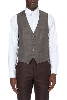 TED BAKER Wool check suit waistcoat