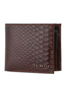 TED BAKER Exotic embossed bifold leather wallet