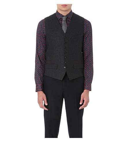 TED BAKER Cerswai printed-back waistcoat (Navy
