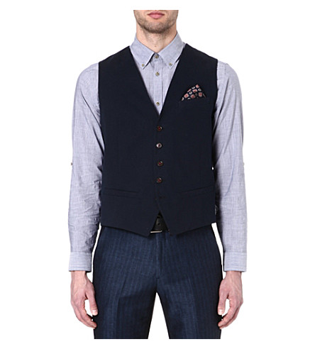 TED BAKER Farawai cotton waistcoat (Navy