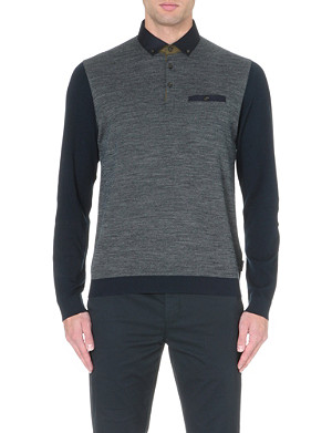TED BAKER Jacquard front polo