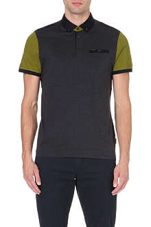 TED BAKER Pinkman block-coloured polo shirt