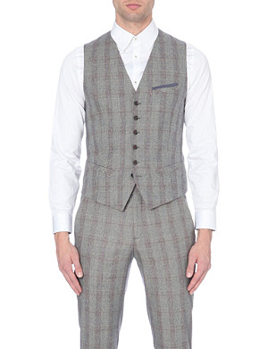 TED BAKER Pywast check wool waistcoat