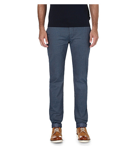 TED BAKER Hollard tapered mid-rise cotton trousers (Blue