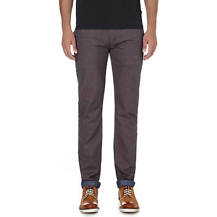 TED BAKER Hollard tapered mid-rise cotton trousers (Purple