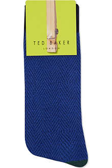 TED BAKER Herringbone organic cotton socks